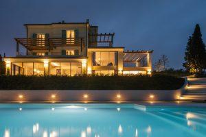 villa and pool at night